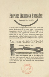 Advert for Travers Brothers, hammock manufacturers, reverse side